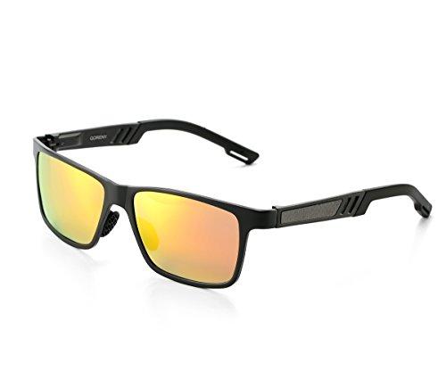 QORENY Men's Hot Retro Driving Polarized Wayfarer Sunglasses Al-Mg Metal Frame Ultra Light (Black frame/Red Lens, As - Best Rectangular For Face Sunglasses
