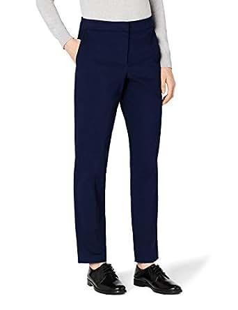 MERAKI Pantalones Rectos Mujer, Azul (Navy), 36 (Talla del fabricante: X-Small)