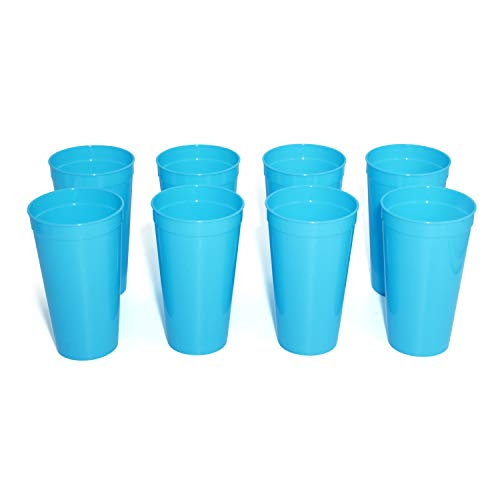 Homevalue 19 Ounce Reusable Plastic Cups for Weddings, Birthday Party, 8 Pack, FDA approved, BPA Free (Blue)