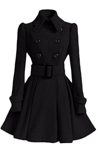 WSPLYSPJY Women's Double Breasted Peplum Dress Trench Coat With Belt Black (Double Peplum Dress)