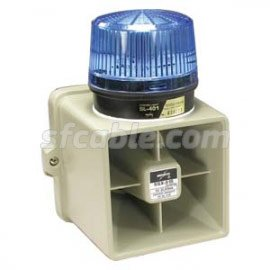 Armored Siren - SF Cable, 15W Indoor/Outdoor Armored Siren w/Blue Strobe