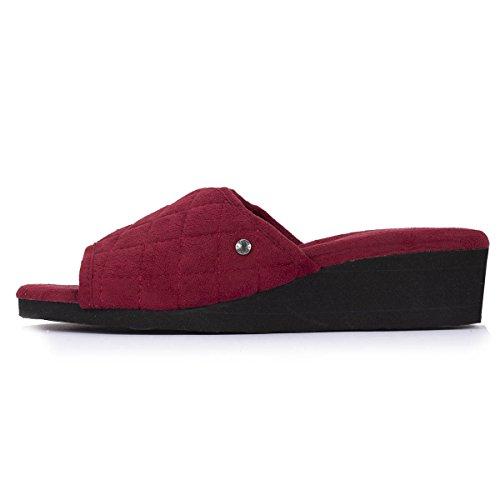 Zapatillas sandalias con tacón para mujer Isotoner Rojo