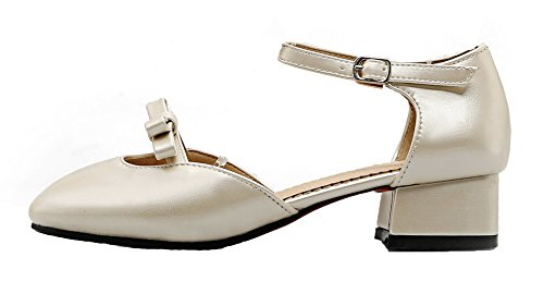 Closed Solid Toe Leather Women's Lightgold Sandals Buckle Patent EGHLH005630 WeiPoot xT7qna7