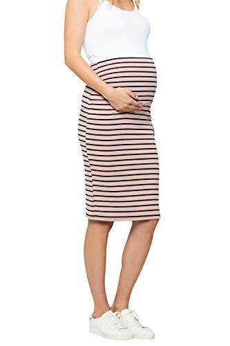 My Bump Maternity Skirt for Women - Comfort Stretch High Waisted Tummy Control Cotton Blend Midi Pencil Skirt Made in USA Pink Navy Small