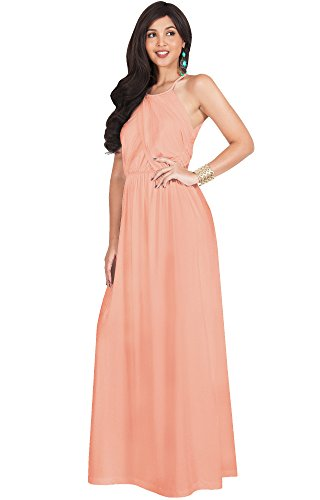 Dinner Womens Light - KOH KOH Petite Womens Long Bridesmaid Sleeveless Cocktail Evening Prom Formal Special Occasion Floor-Length Beach Wedding Party Guest A-Line Flowy Gowns Maxi Dresses, Light Pink Peach S 4-6
