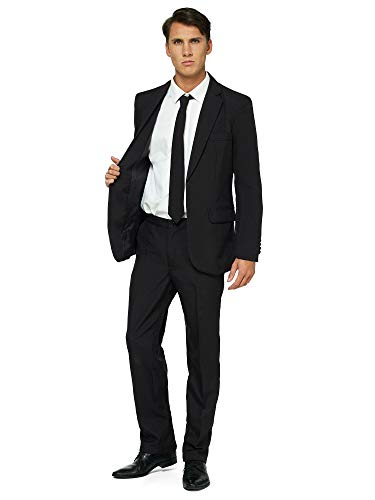 OFFSTREAM Plain Colored Suits for Men- Costumes Include Jacket Pants and Tie, Plain Black, Large