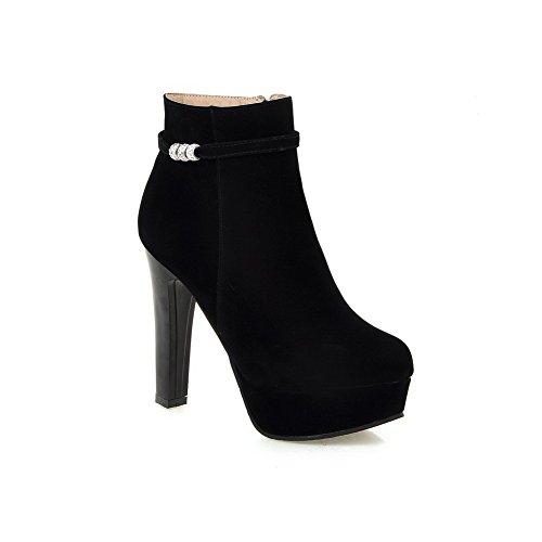 Wildleder Smoking Ferse Schuhe Glas Schwarz Diamant Schuhe Stiefel Imitiert AdeeSu Damen OqpwXU8w
