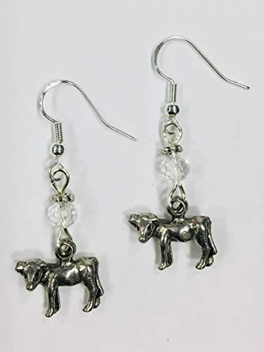 Cow or Calf Silver Charm Earrings, Farm Country Earrings, accented with clear faceted crystal accent bead, on sterling silver earwires