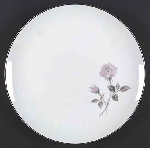 "Sango Helene Pattern Silver Trimmed Dinner Plate 10-1/2"", Retro Rose Pattern China, Helene 6413 Sango China, Mid-Century Modern China"