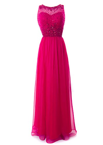 Fiesta Formals Long Chiffon Evening Gown with Gems on an Illusion Neckline - Fuchsia - - Shipping 2day