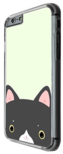 1124 - Cute Black Cat Head Design For iphone 6 6S 4.7'' Fashion Trend CASE Back COVER Plastic&Thin Metal -Clear