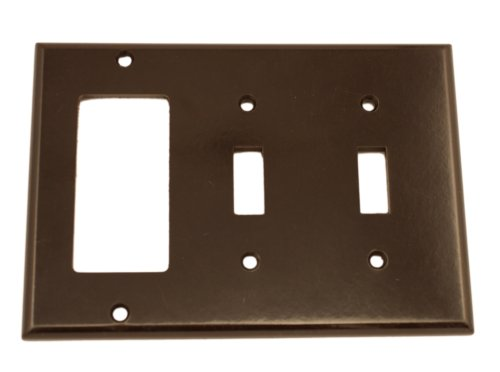 Leviton 80421 3-Gang 2-Toggle 1-Decora/GFCI Device Combination Wallplate, Standard Size, Thermoset, Device Mount, Brown