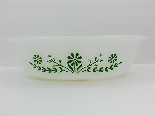 - Vintage Green Daisy Floral Milk Glass 1 Qt Oval Casserole Dish