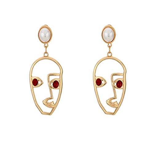 (Human Face Dangle Earrings Drop Hoops Studs Cuffs Ear Wrap Pin Vine Pierced Dangling Hollow Out Charms Jewelry Golden Plated Style 3)