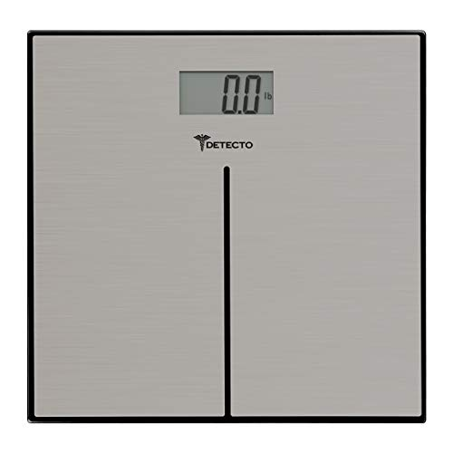 (Detecto D133 Modern Stainless Steel Body Weight Bathroom Scale, Digital LCD Display, 400lb)