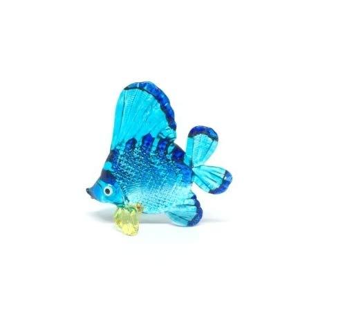 Handmade Animal Figurine Art Glass Blown Beautyfull Blue Fish Figurine Collection Best Gift