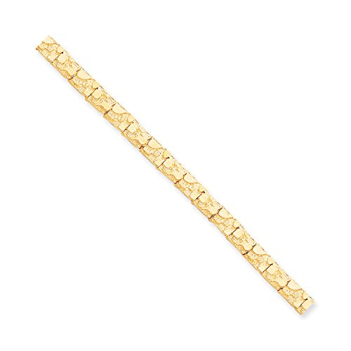 Roy Rose Jewelry 10K Yellow Gold 7mm Nugget Bracelet ~ Length 7'' inches (Yellow Gold Nugget Bracelet)