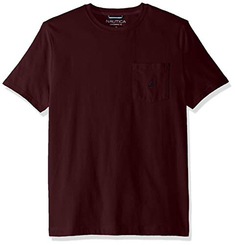 Nautica Men's Solid Crew Neck Short Sleeve Pocket T-Shirt, Shipwreck Burgundy, Large ()