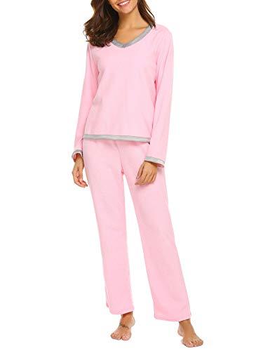 (Ekouaer Thermal Sets Womens 2 Pcs Underwear Thick Shirt and Elastic Waist Pants Pajamas, Shocking Pink, Large)