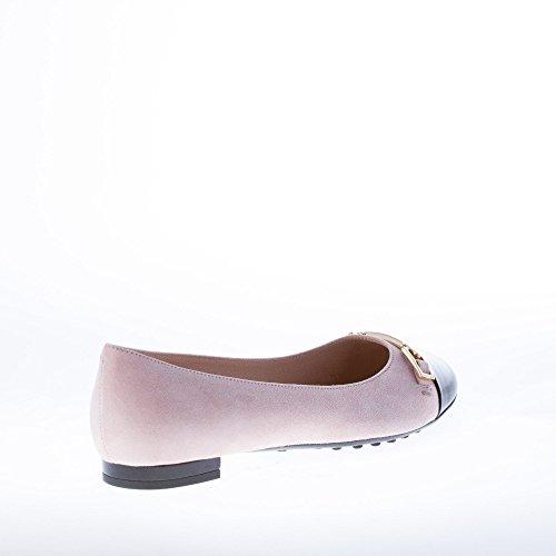 Flat Pink Logo embossed Golden Suede Ballerina Tod's Shoes Nude Clamp Women qwaXcvPg
