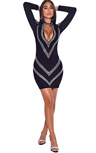 Women Semi Formal Dress -Elegant Sparkly Midi Evening Cocktail Ball Gowns Vintage Party Wear Black ()