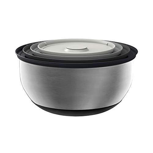 Joseph Joseph 95025 Nest 100 Prep & Store Mixing Bowl Set with Lids, 4-piece, Stainless Steel