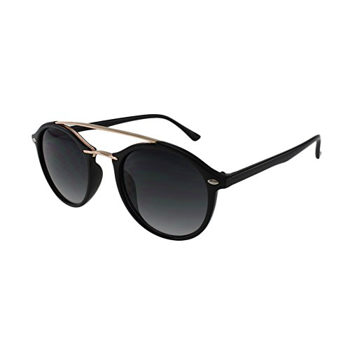 MQ Sunglasses - Caleb - Round Soho Style Sunglasses with Brow Bar and Microfiber Pouch (Black / - With Round Brow Bar Sunglasses