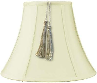 7x14x11 Bell Tassel Lampshade, Eggshell Shantung Fabric
