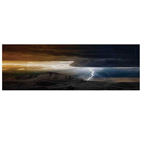 - Nature Microwave Oven Cover,Thunder Rays from Dark Clouds Hitting Down to The Mountain Storm Theme Art Print Cover for Kitchen,36