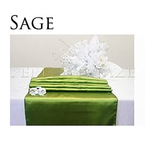 Sage color wedding decorations amazon perfectmaze 20 piece 12x108 inch satin table runner wedding party decoration 20 colors sage green junglespirit Choice Image