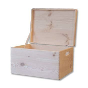 Plain Wooden Chest with Lid -Toy Box Storage Chest - 39.5x 30x 24cm by HomeDecoArt