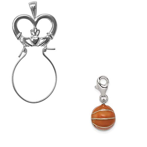 Mireval Sterling Silver 3D Enameled Basketball Charm on a Claddagh Charm Holder