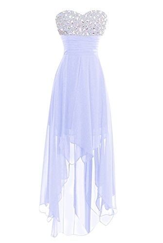 Women's Chiffion Hi-Low Beading Prom Dress Evening Homecoming Gown Lavender US18W
