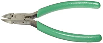 """Xcelite MS549JV Tapered Head Diagonal Cutter, Diagonal, Flush Jaw, 4"""" Length, 15/32"""" Jaw length, Green Cushion Grip, Carded"""