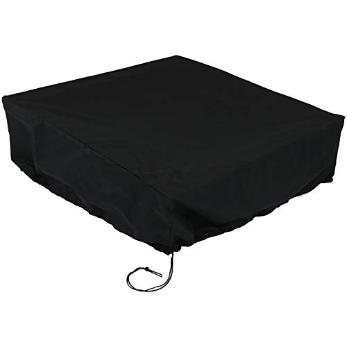 Sunnydaze Square Black Fire Pit Cover, 48 Inch Square, 18 Inch Height