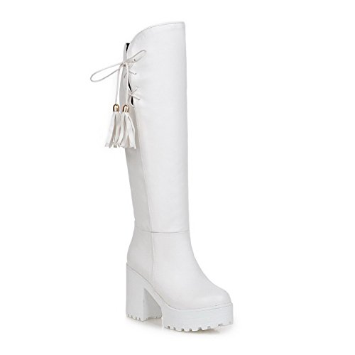 Old Nappa Footwear (AllhqFashion Women's PU Nappa High-Heels Boots with Slipping Sole and Tassels, White, 42)