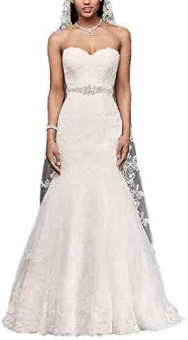 b4ebd96ee1 Sweetheart Trumpet Wedding Dress with Beaded Sash Lace Mermaid Bridal Gowns