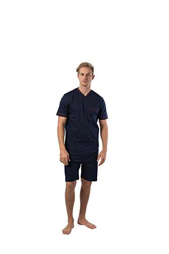 calida Mens v-Neck 100% Cotton Short Sleeve Short Pants Pajamas Set varies Print (1886, Medium) (Pajamas Calida Cotton)