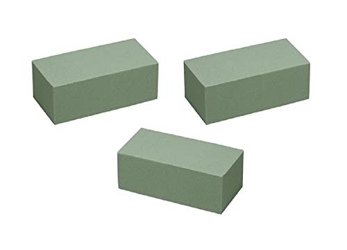 Floral Supply Online - Dry Floral Foam for Artificial Flowers, Permanent botanicals, Crafts, and Projects. Pack of 3 Bricks.