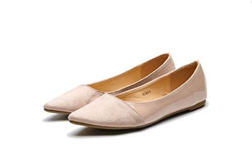 (Mila Lady Flora Stylish Patent Leather Pointed Toe Comfort Slip On Ballet Dressy Flats Shoes for Women,Nude 9)
