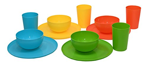 12 Piece Plastic Dish Set. Colorful Plastic Plates, Plastic Tumblers, and Plastic Bowls in 4 Colors (Plastic Dish Set)