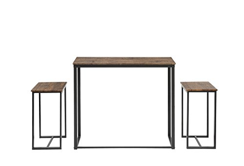 Abington Lane 3-Piece Counter Height Dining Table Set with 2 Stools