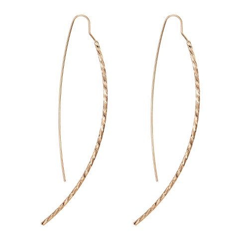 WeiVan Gold Arc Earrings Curved Bar Long Hook Drop Earring Delicate Hoop (Delicate Hoop)