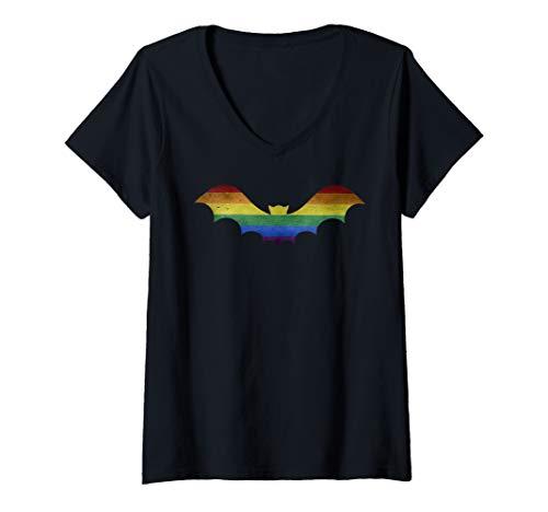Gay Costume Ideas (Womens LGBTQ Gay Pride Vampire Bat Halloween Costume Idea V-Neck)