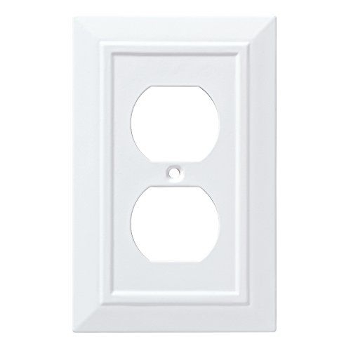 Design Single Outlet Switchplate Cover - Franklin Brass W35242-PW-C Classic Architecture Single Duplex Wall Plate/Switch Plate/Cover, White