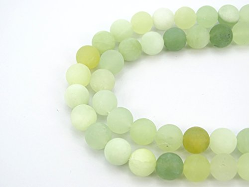 jennysun2010 Natural Matte Frosted New Mountain Jade Gemstone 8mm Round Loose 50pcs Beads 1 Strand for Bracelet Necklace Earrings Jewelry Making Crafts Design (New Jade Stone)