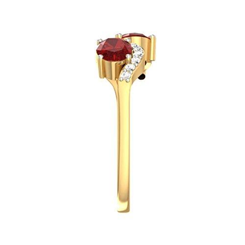Or jaune 18K 0,14carat Diamant Taille ronde (IJ | SI) Rubis et diamant Bague