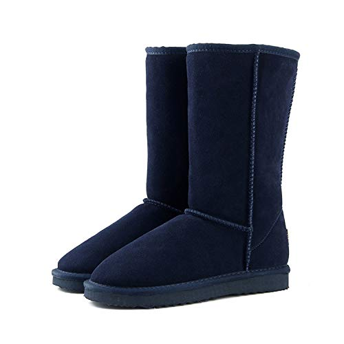 Genuine Leather Fur Snow Boots Women Top Australia Boots Winter Boots for Women Warm Botas Mujer Navy Blue