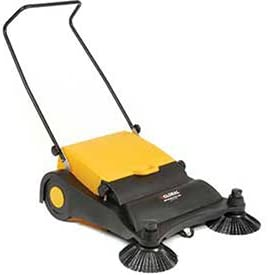 """Industrial Push Sweeper 32"""" Cleaning Width Black and Yellow"""