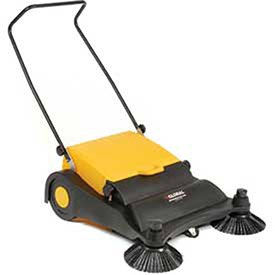 Industrial Push Sweeper 32'' Cleaning Width Black and Yellow by IndustrialSupplies